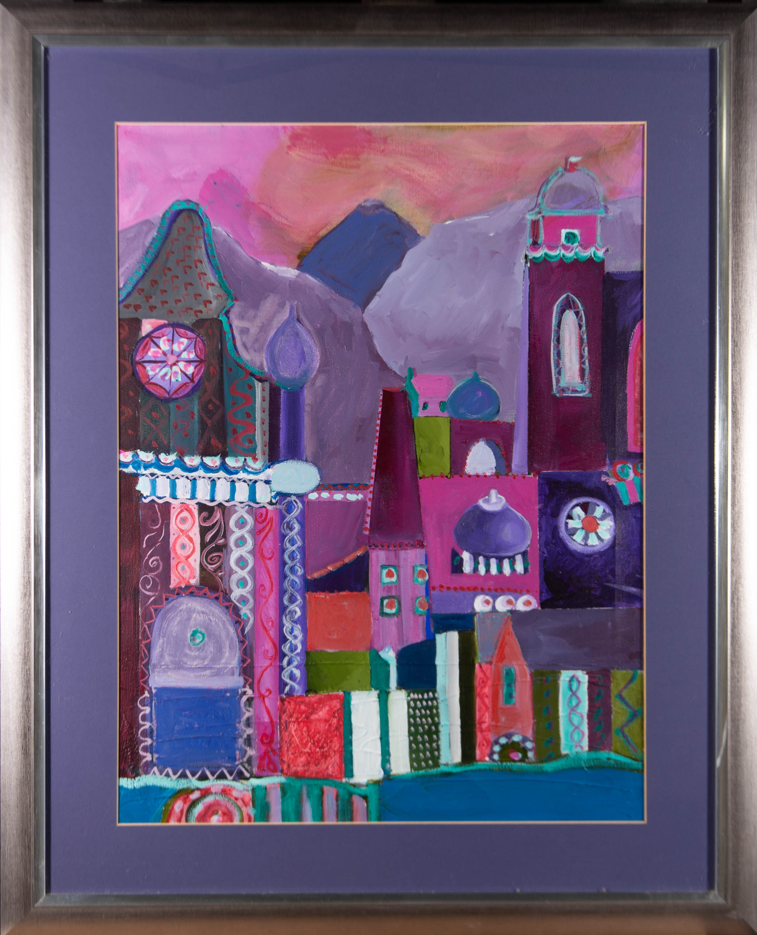 Framed Contemporary Acrylic - Purple City