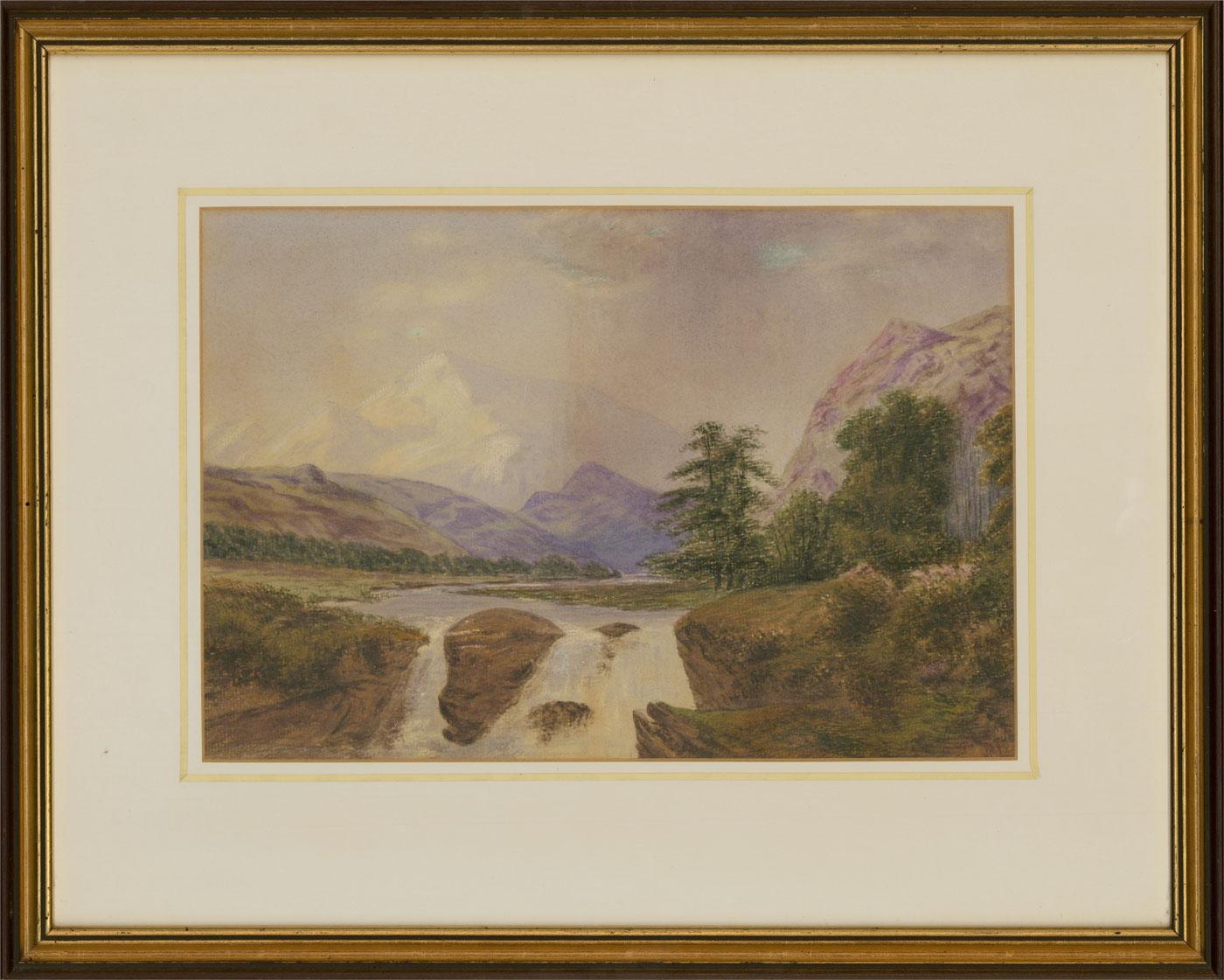 J. Story - 1874 Watercolour, Mountainous Landscape with Waterfall