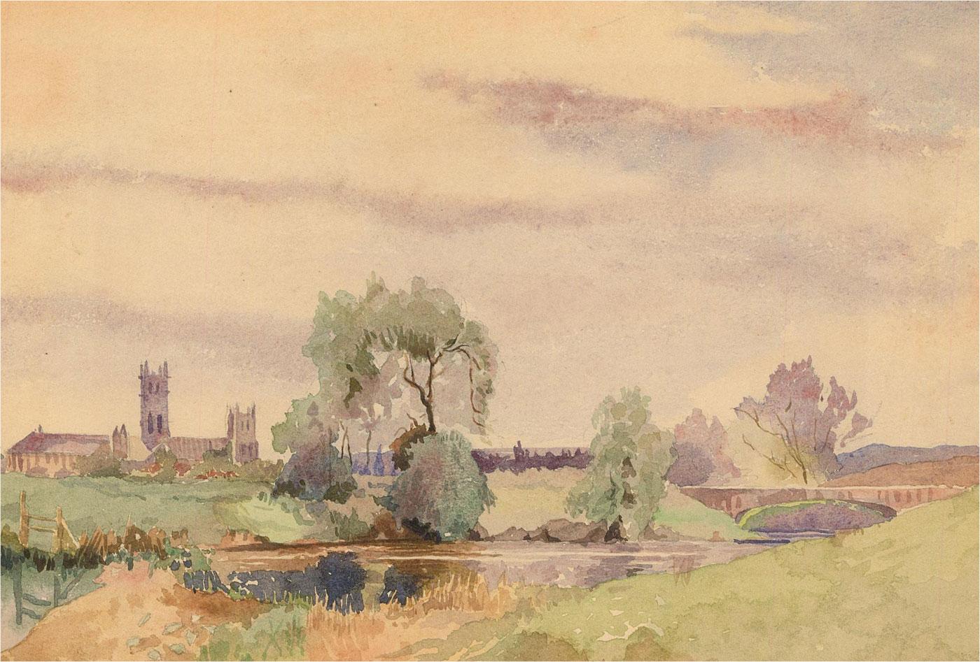 20th Century Watercolour - River Scene