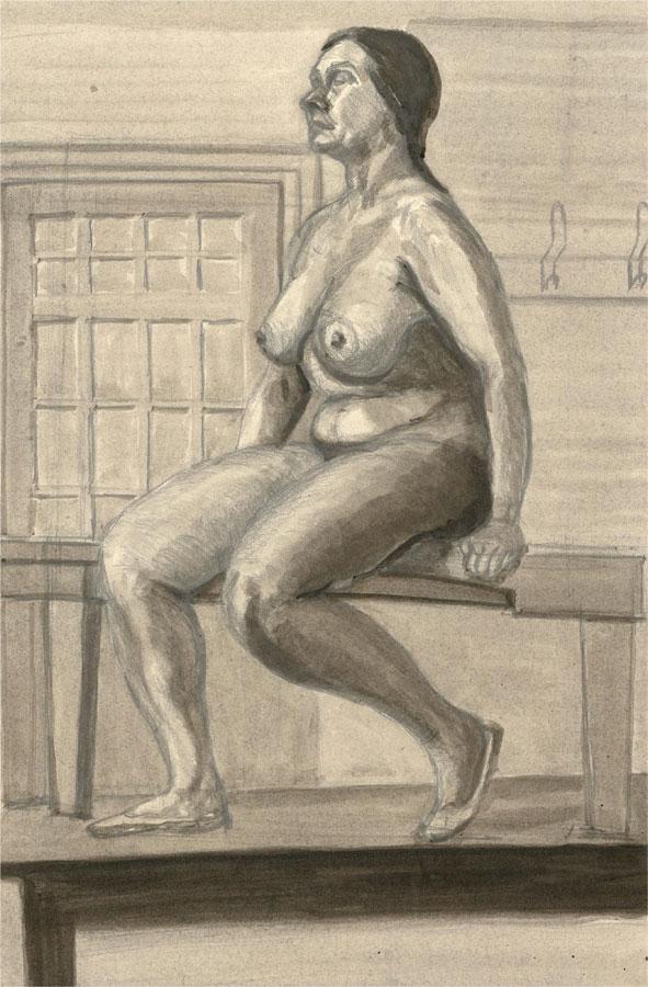 Simon Cesarani - Mid 20th Century Watercolour, Female Nude Seated