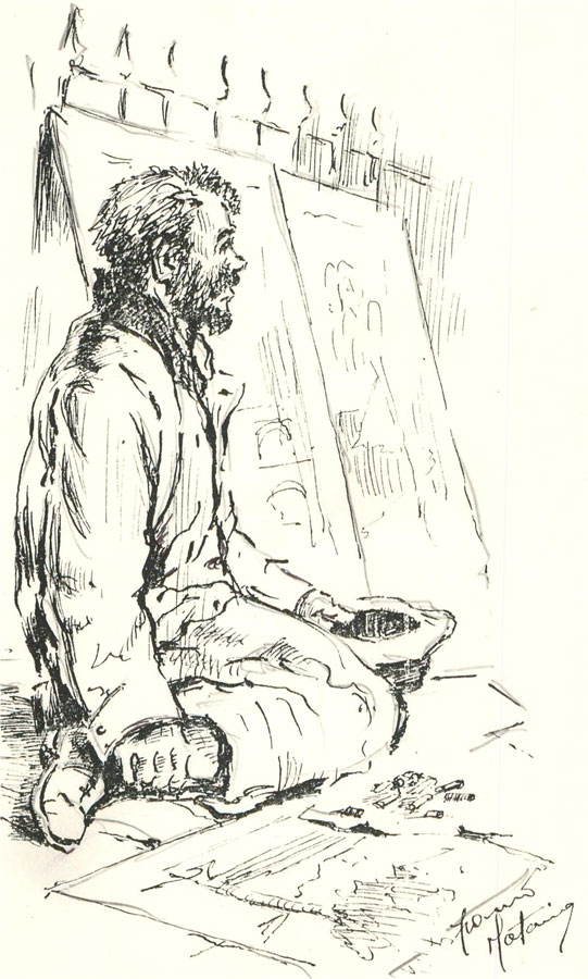 Franco Matania (1922-2006) - 20th Century Pen and Ink Drawing, Homeless Artist