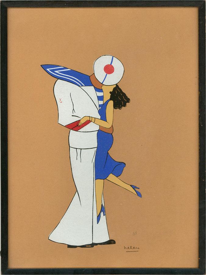 Art Deco Early 20th Century Gouache - Sailor & Lover