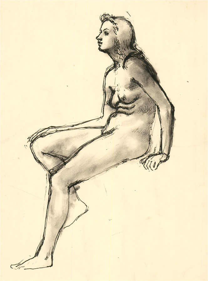 Julia Morley (1917–2008) - Pen and Ink Drawing, Study of a Female