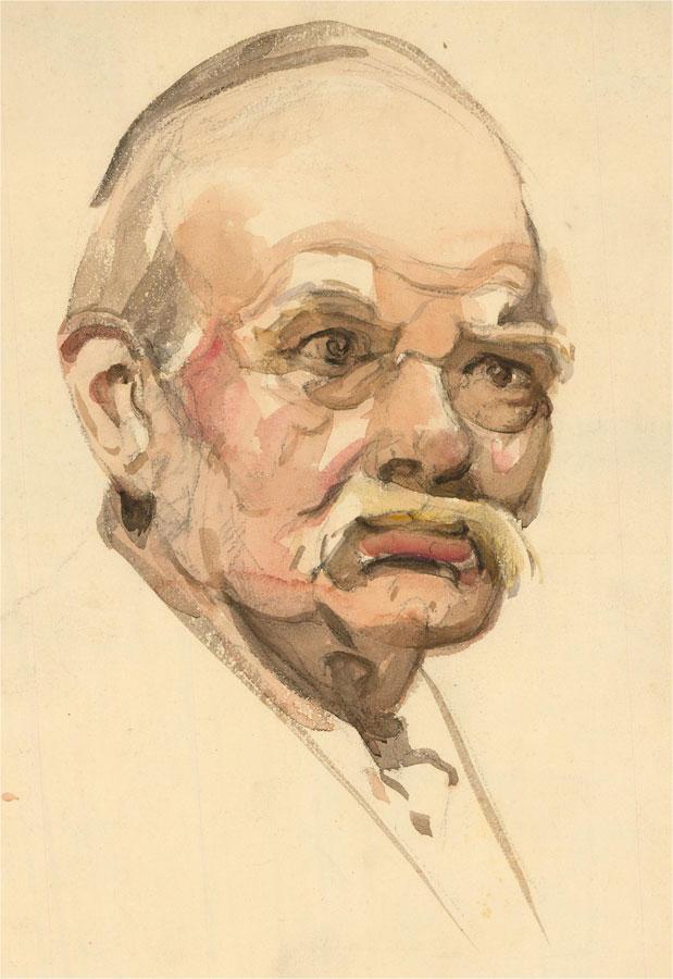 Alexandra E. Layfield - Mid 20th Century Watercolour, Figure with Mustache