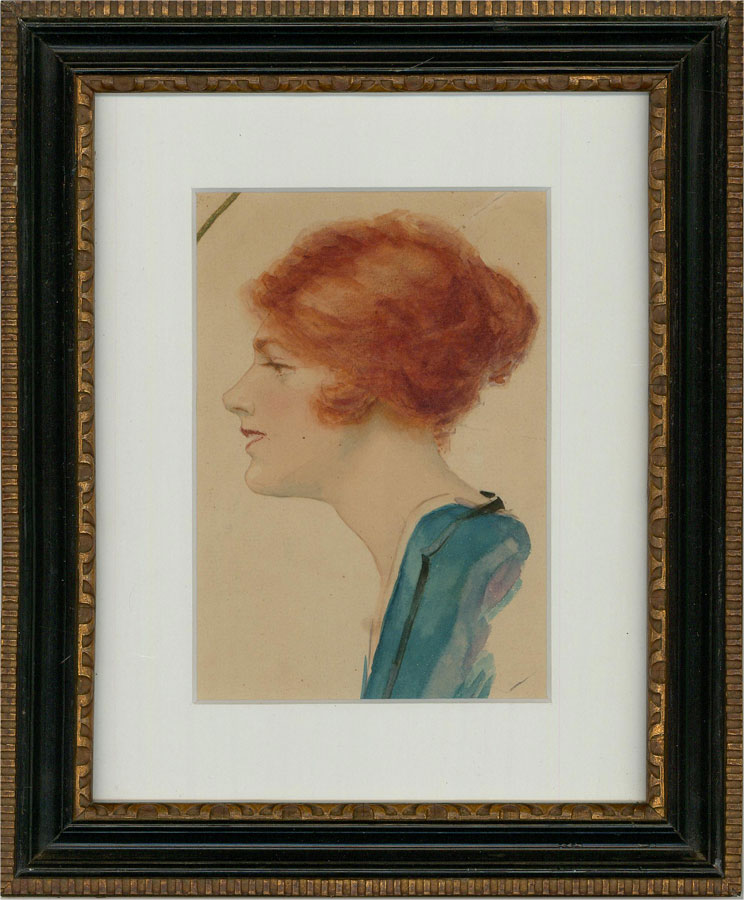 Stanley Engel - Framed Early 20th Century Watercolour, Woman with Red Hair