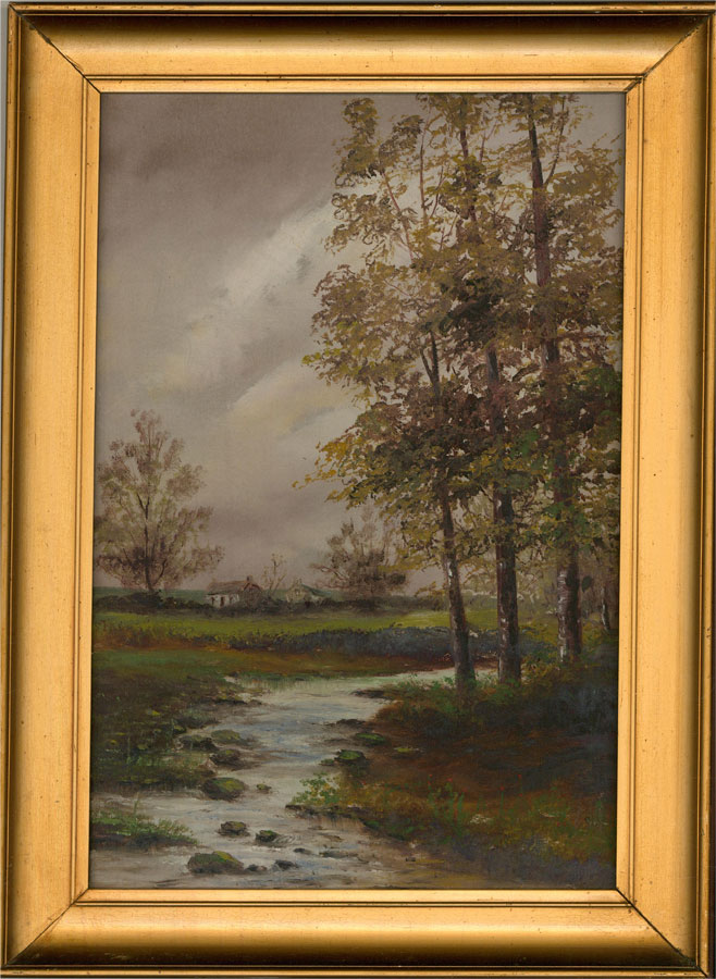 Early 20th Century Oil - Small Stream and Cottages