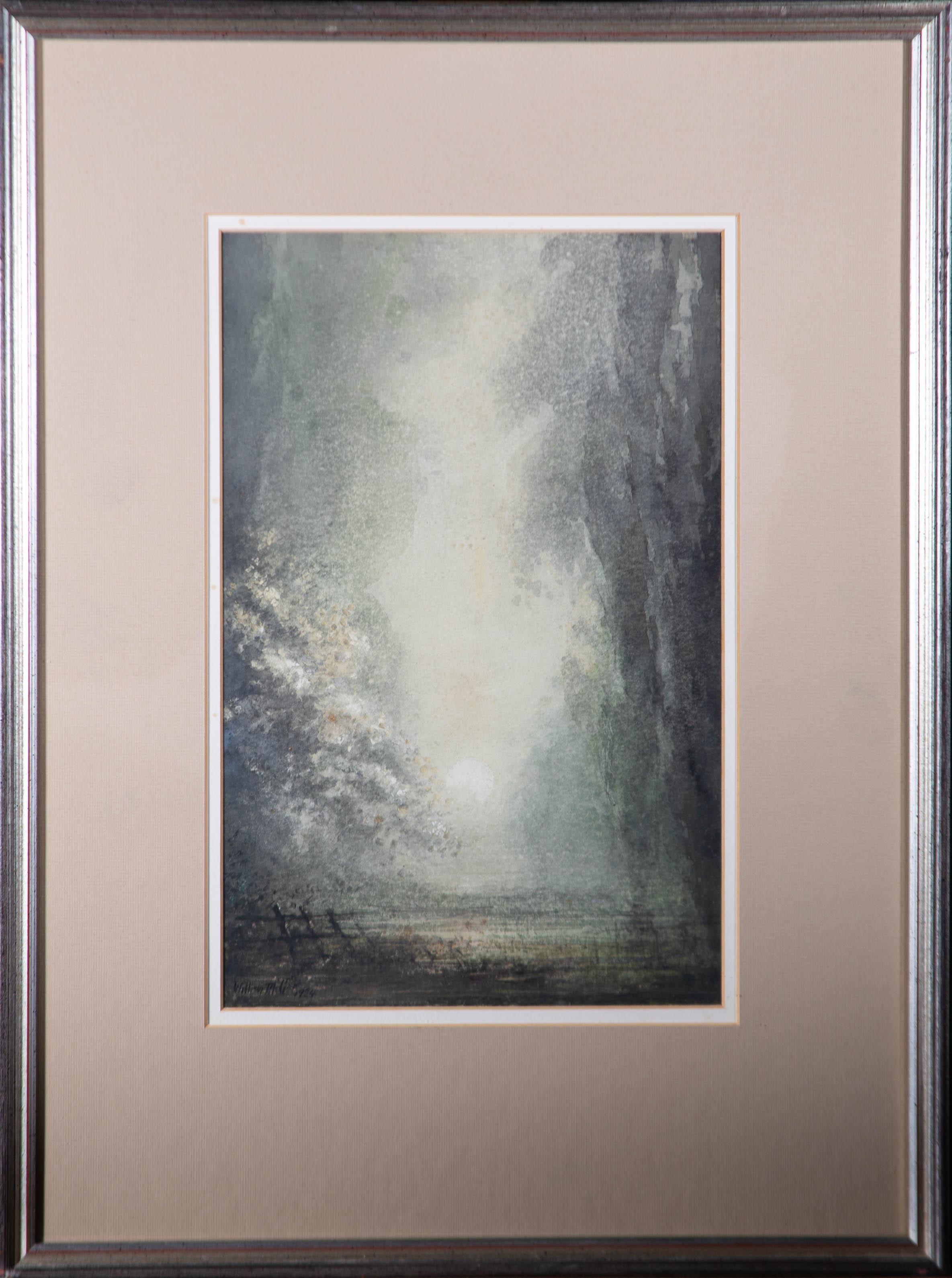 William Miller - 1924 Watercolour, Moonlight Landscape