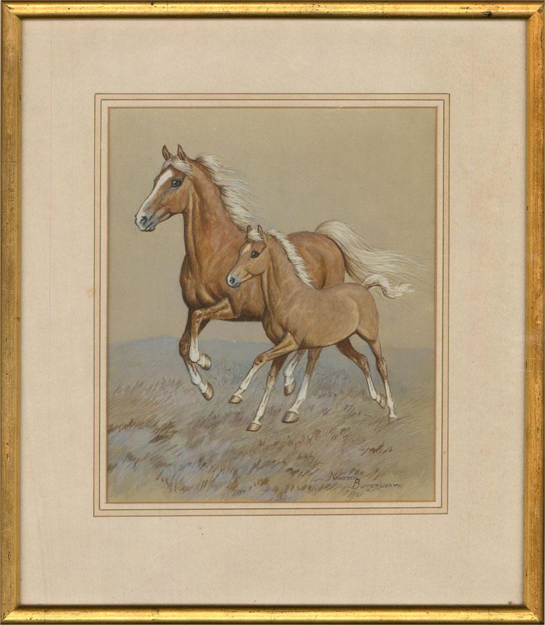 Ninetta Butterworth (b.1922) - Mid 20th Century Watercolour, Mare and Foal