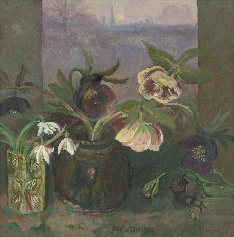 Keith Johnson (1931-2018) - Fine Contemporary Oil, Spring Flowers