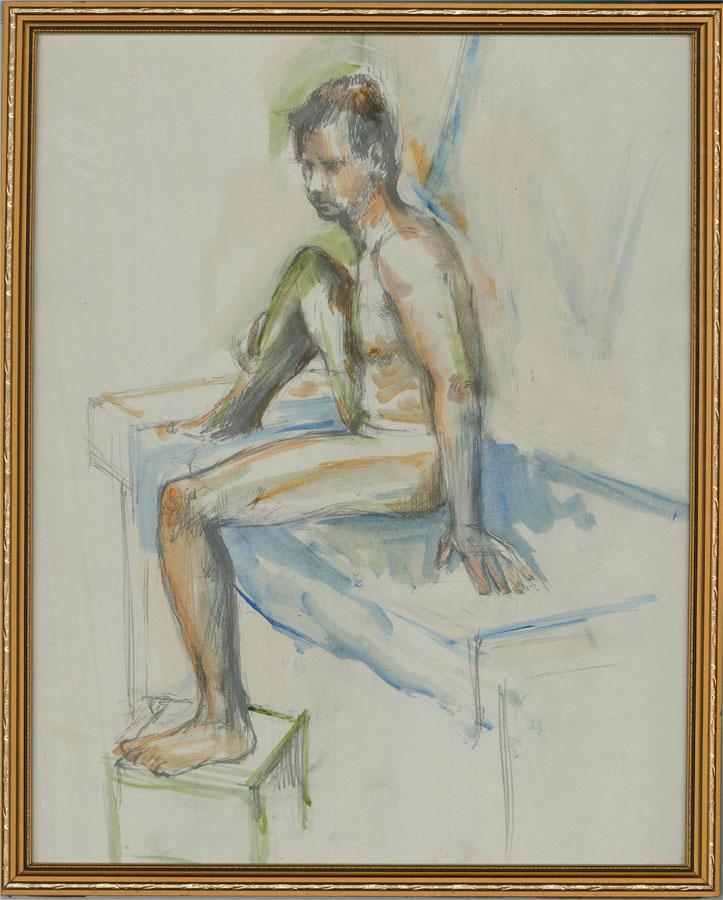 Lewis Davis (1910-1979) - 20th Century Watercolour, Seated Nude