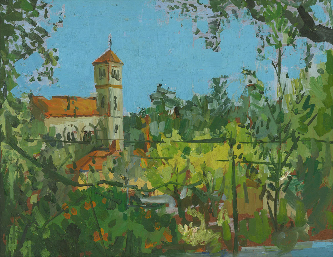 Peter Collins ARCA - 20th Century Oil, Landscape with Church