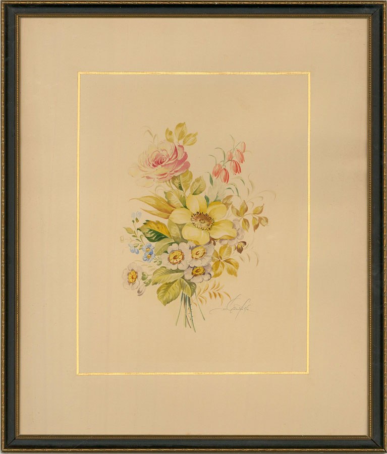 Early 20th Century Watercolour - Summer Posy