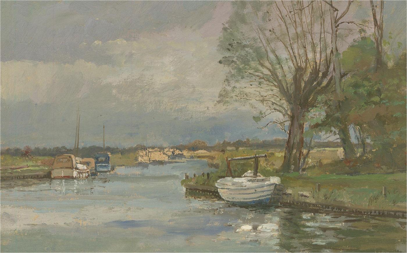 Keith Johnson (1931-2018) - Contemporary Oil, River Scene with Boats