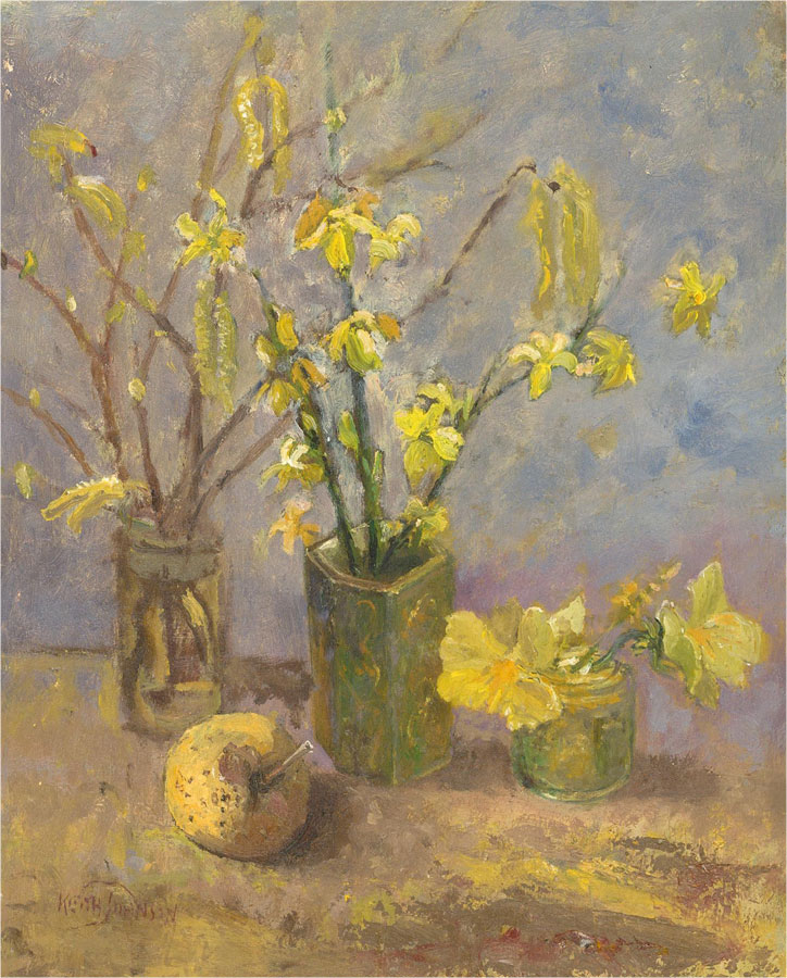 Keith Johnson (1931-2018) - Contemporary Oil, Yellow Buds