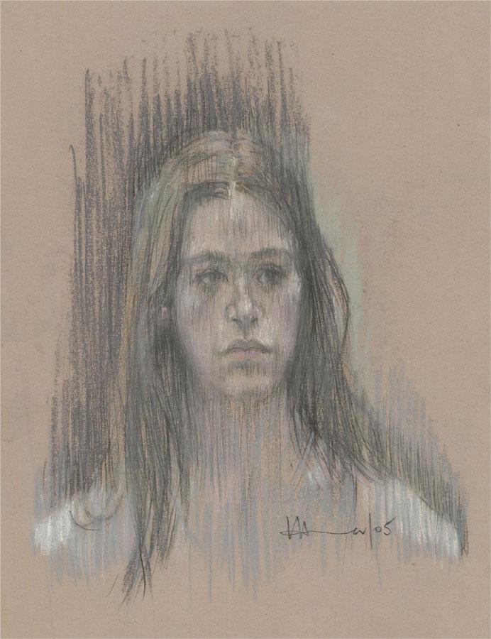 Val Hamer - 2005 Pastel, Portrait of a Girl