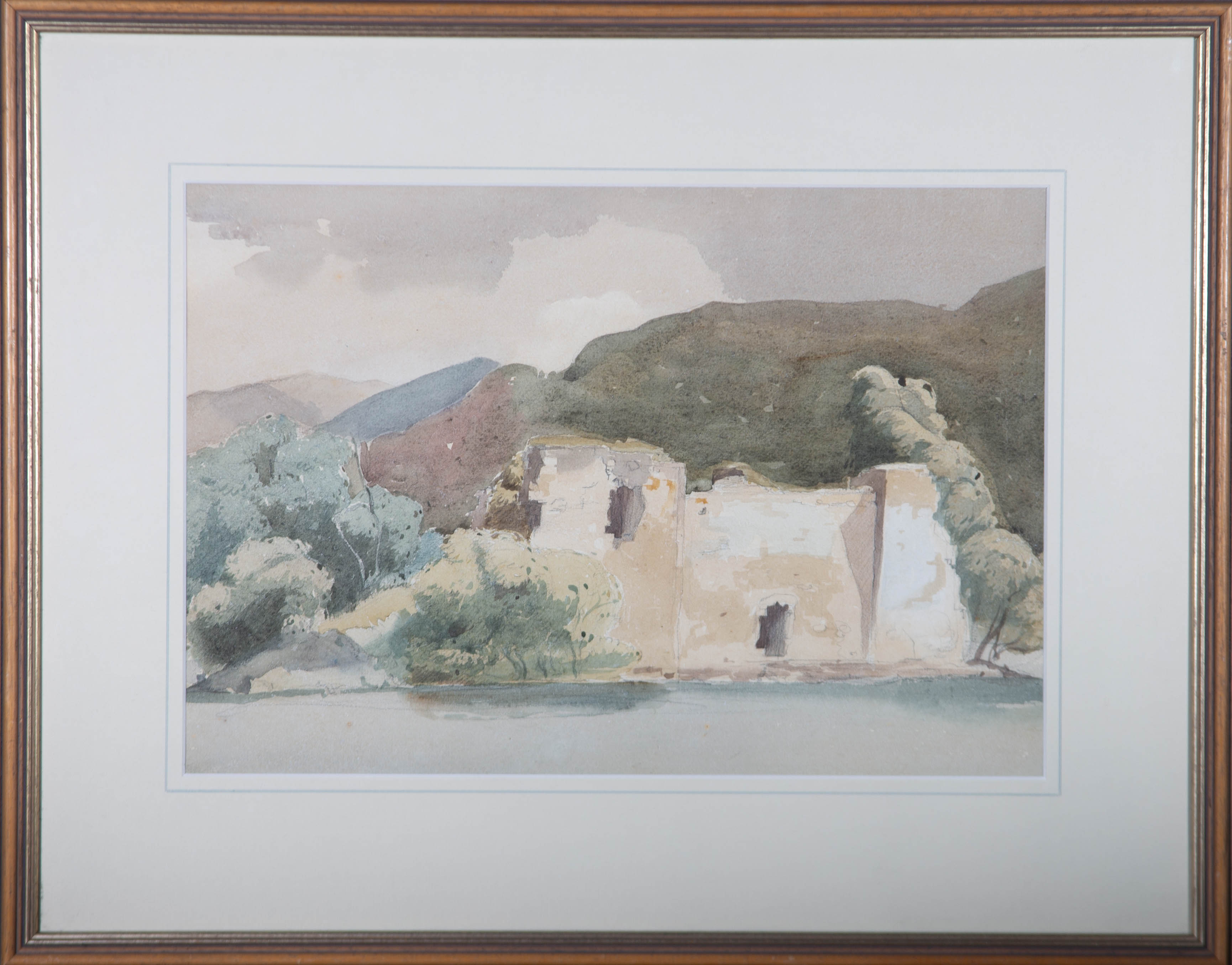 Early 20th Century Watercolour - Lake View with Ruins