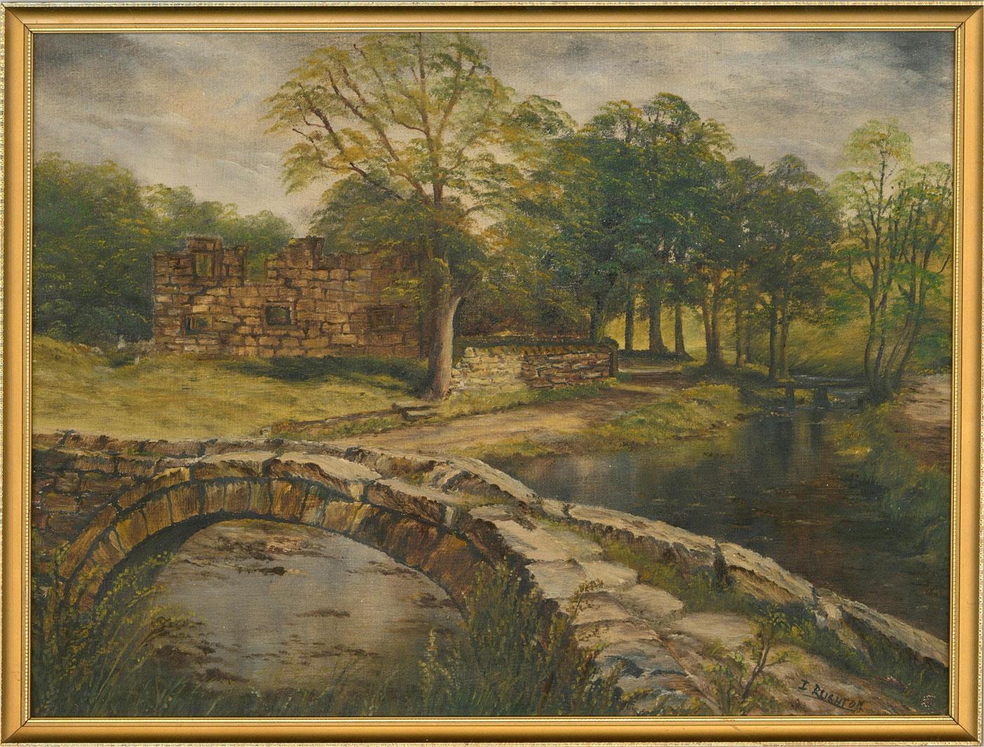 I. Rushton - Contemporary Oil, Bridge Over The Stream