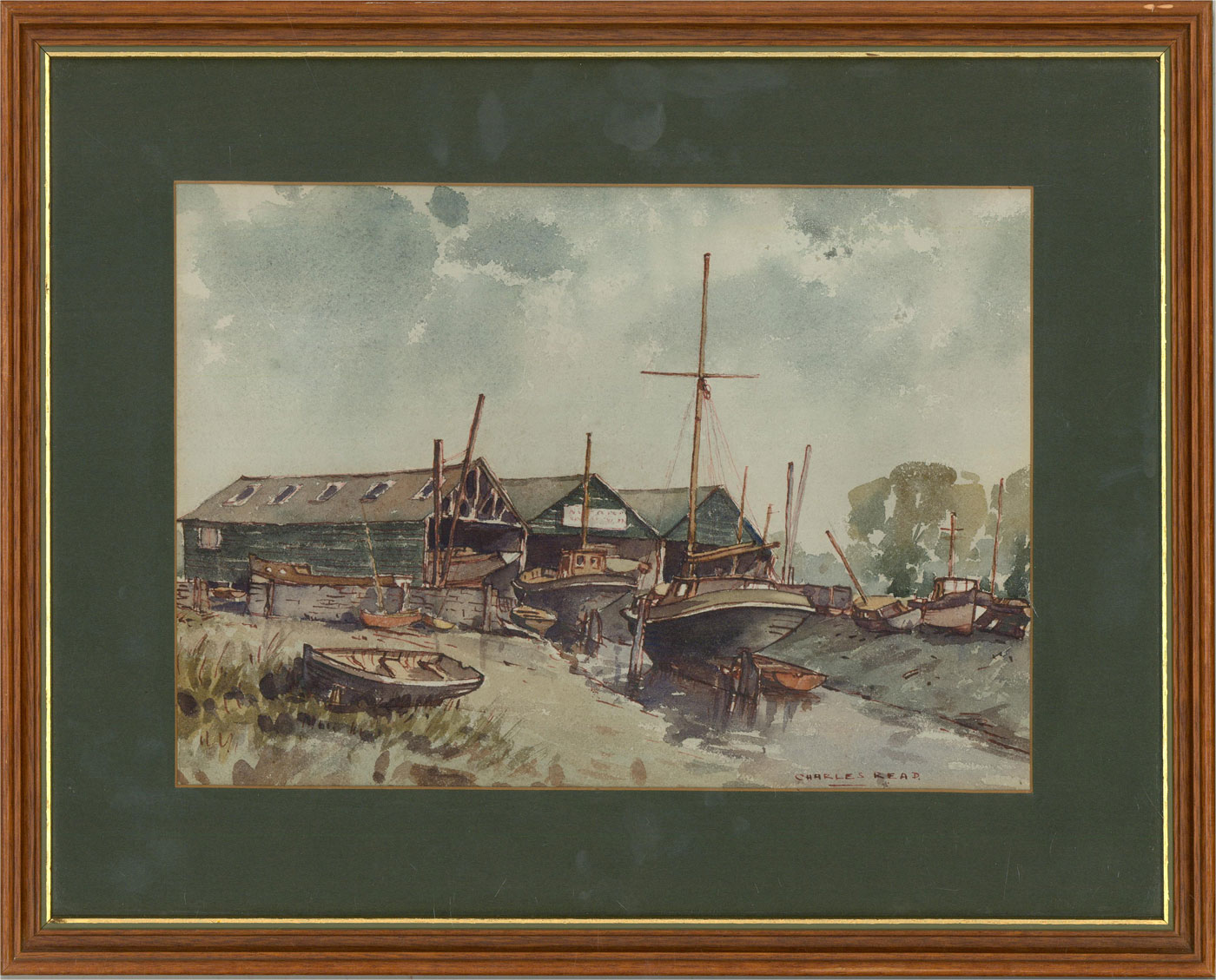 Charles Read - Mid 20th Century Watercolour, Boats On The Slipway
