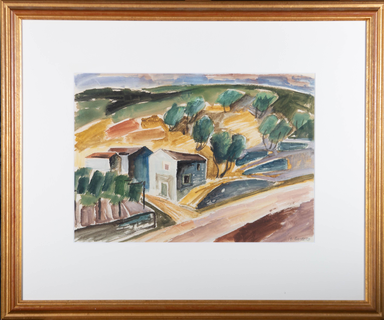A. Barte - 1950 Watercolour, A Windy Day