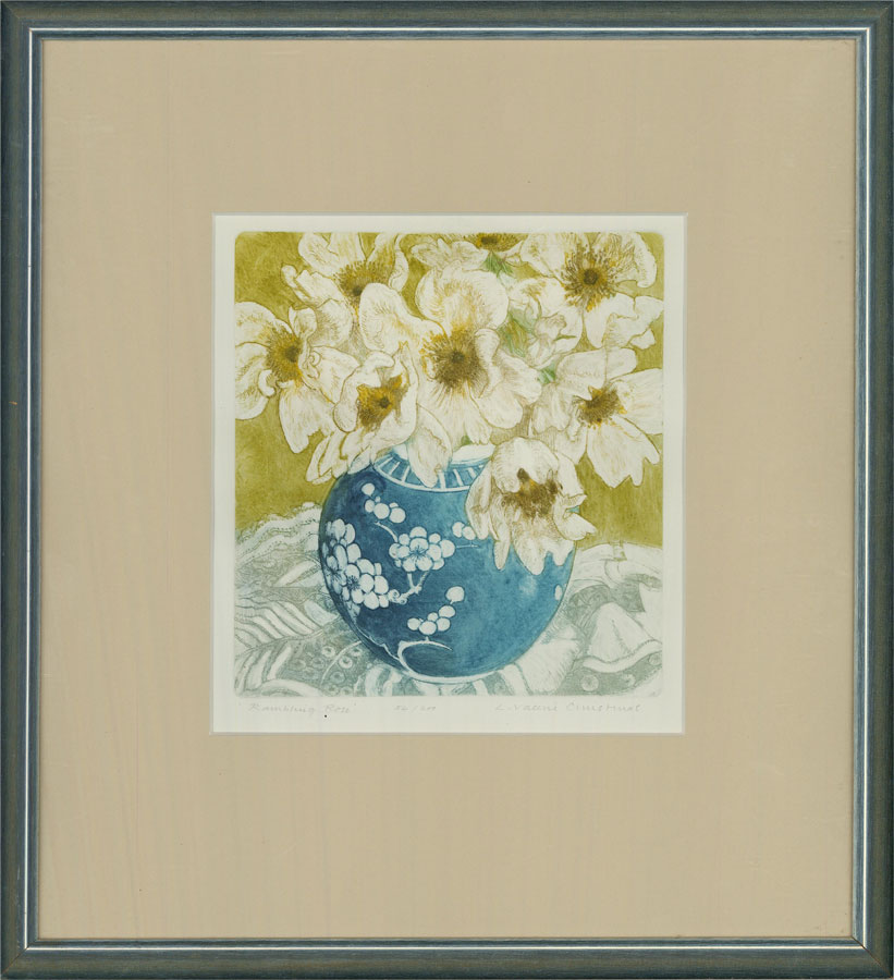 Valerie Christmas - Contemporary Etching, Rambling Rose