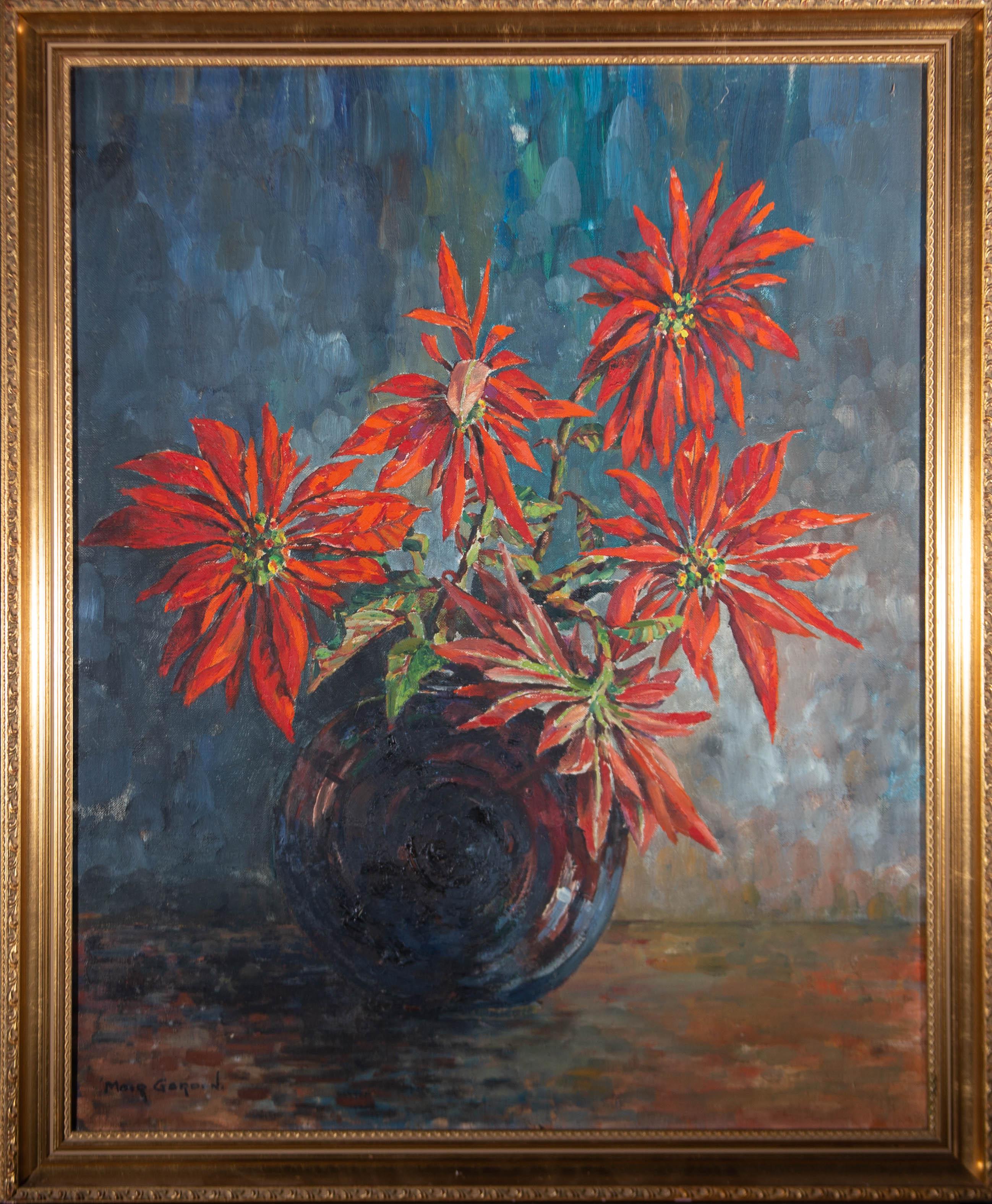 Moir Gardon - Contemporary Oil, Vibrant Poinsettia