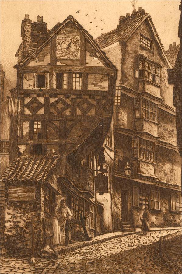 Restrike  Early 20th Century Etching - Steep Street, Bristol