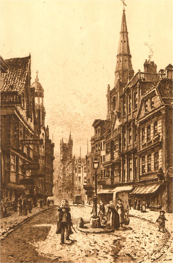 Early 20th Century Etching - Wine Street