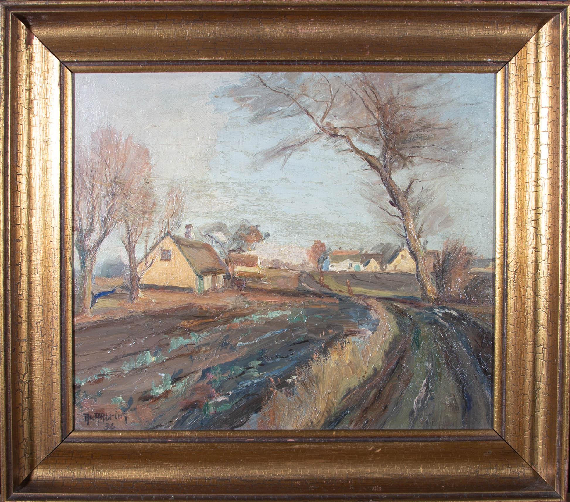 Axel Aabrink (1887-1965) - 1936 Oil, Farm Scene