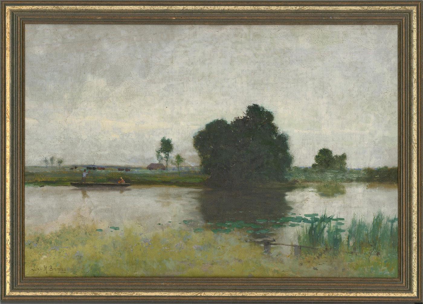 John Mallard Bromley RBA (1858-1939) - Late 19th Century Oil, Punting on a River