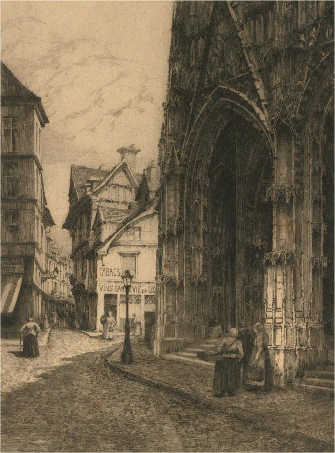 Gertrude Ellen Hayes ARE (1872-1956) - Etching, Saint-Maclou, Rouen