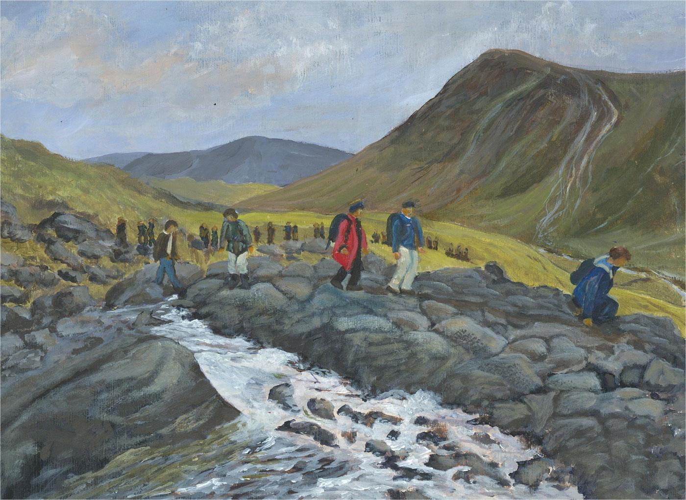 Gwyneth Willitt - Contemporary Oil, Hiking through the Mountains