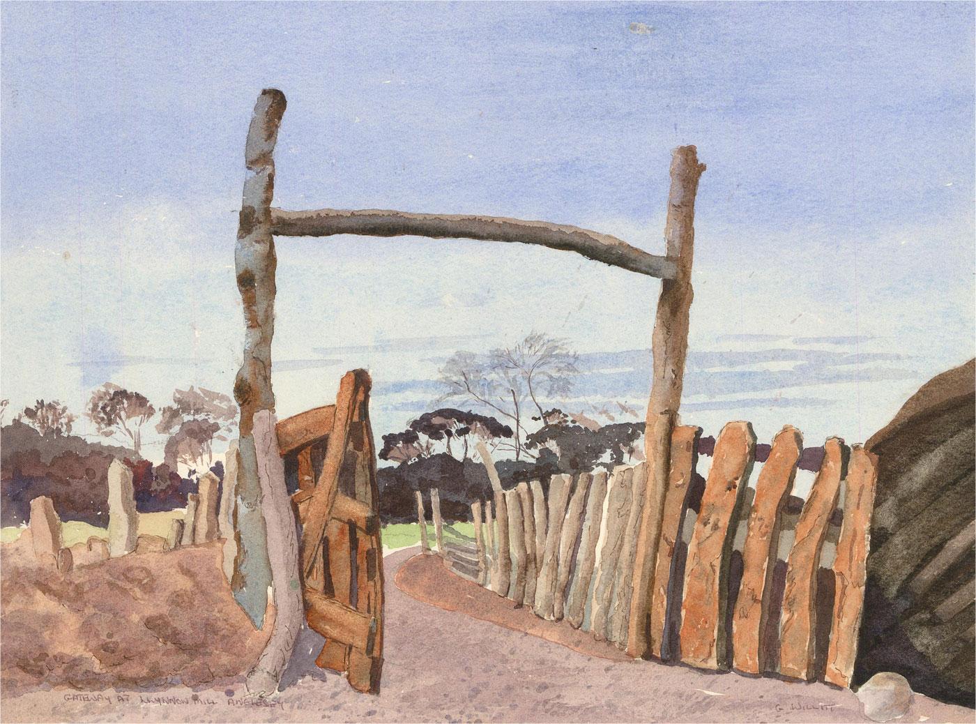 Gwyneth Willitt - Contemporary Watercolour, Gateway at Llynnon Mill, Anglesey
