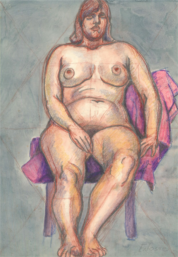 Francois Xavier Josse (1910-1991) - 20th Century Watercolour, Seated Nude