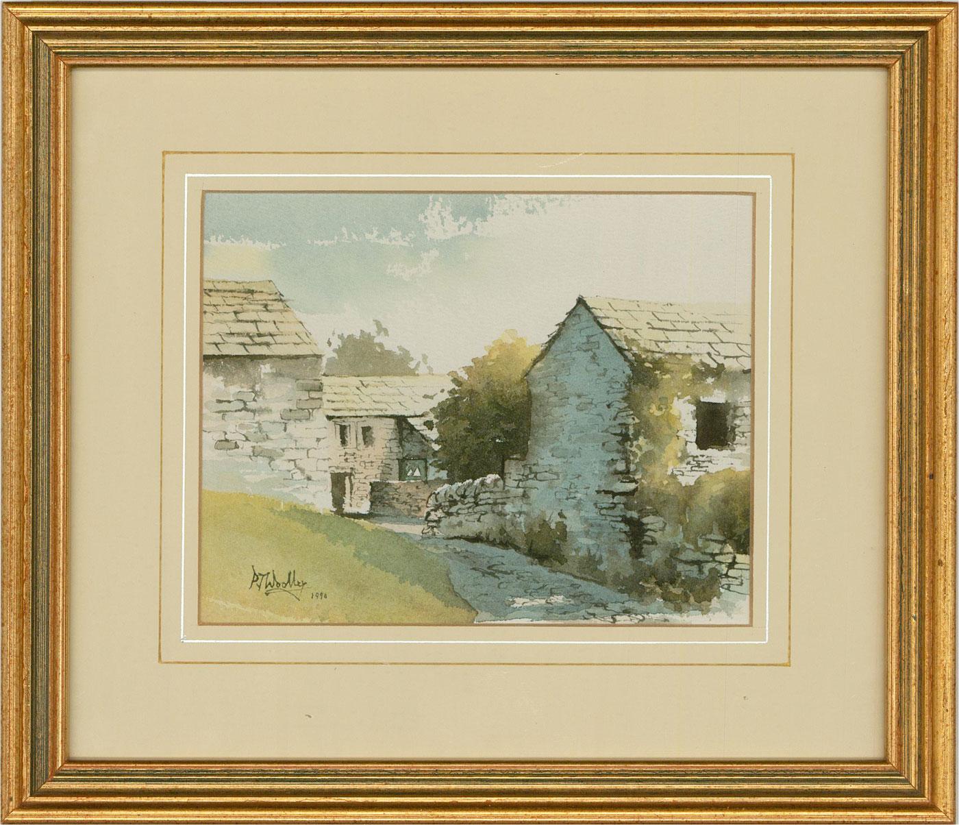 Peter Woolley - 1990 Watercolour, Grassington Scene