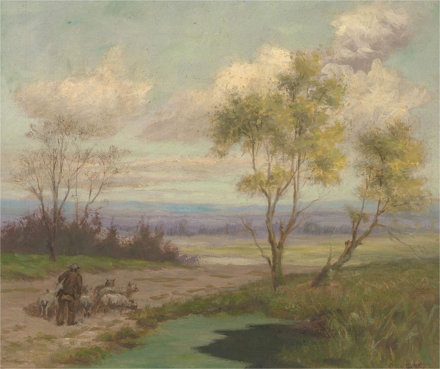 Early 20th Century Oil - Moving the Flock