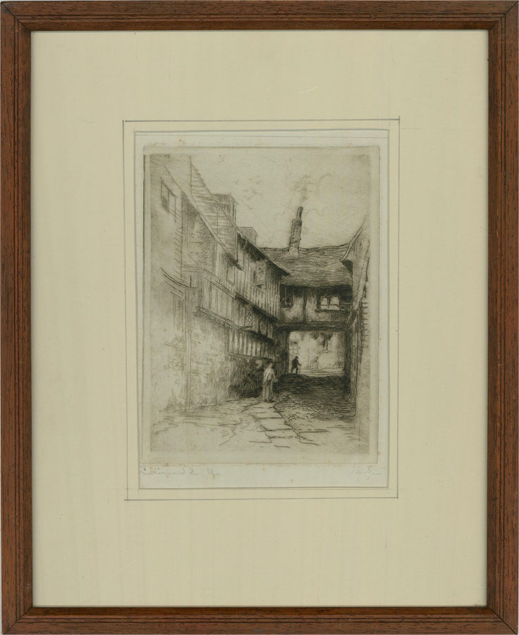 Late 19th Century Etching - Cobbled Street