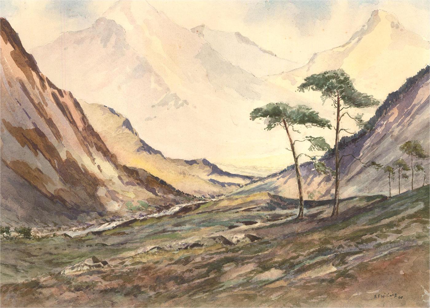 A.F. Williams - 1960 Watercolour, Mountainous Valley
