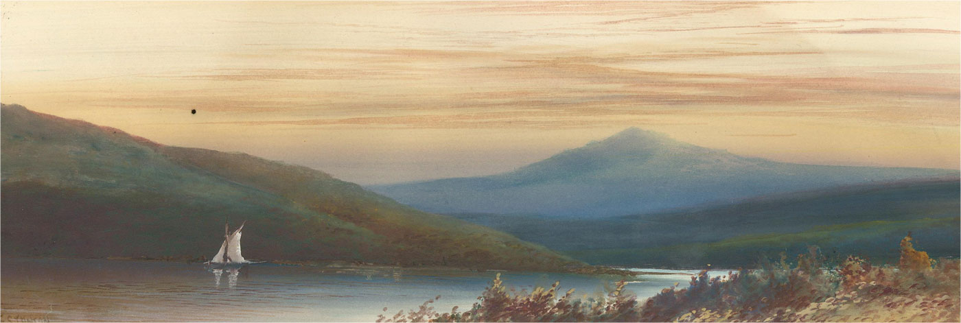 F. Stanton - Early 20th Century Watercolour, Sunset Over Highland Lake