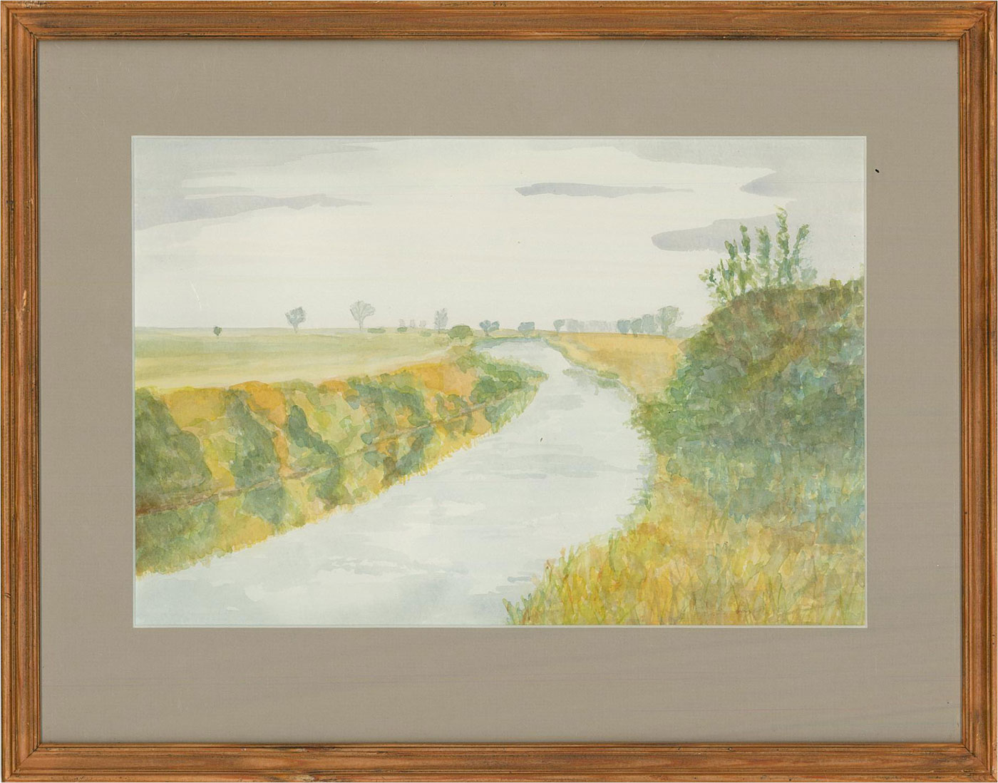 L.V. - 20th Century Watercolour, Rural River View