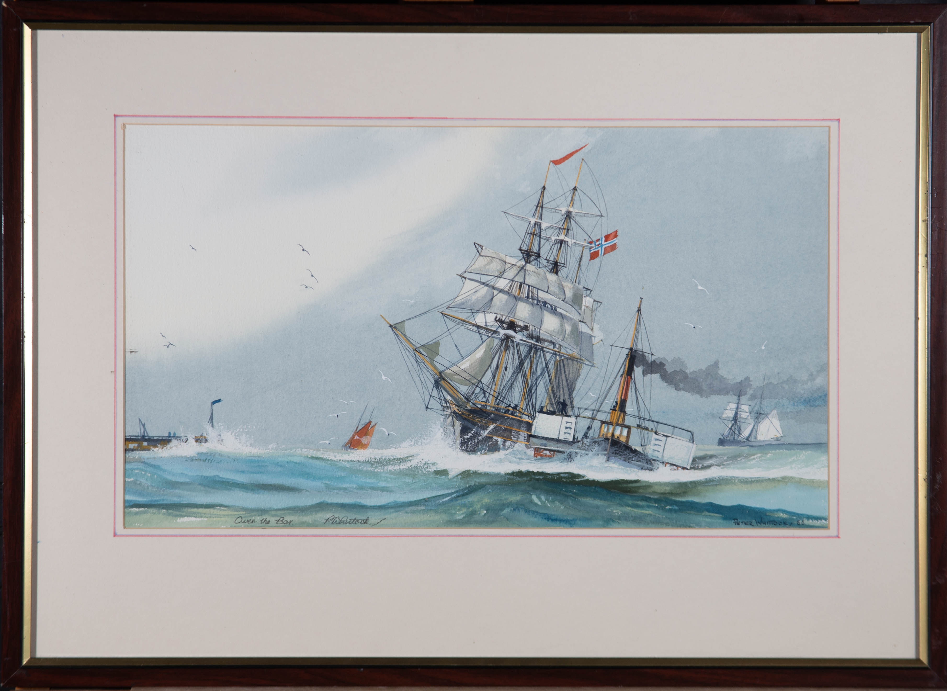 Peter Whittock - Signed 1988 Watercolour, Over the Bar