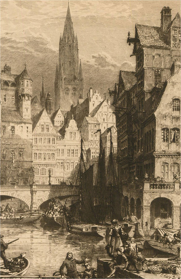 Axel Herman Haig (1835-1921) - Late 19th Century Etching, Historic Town