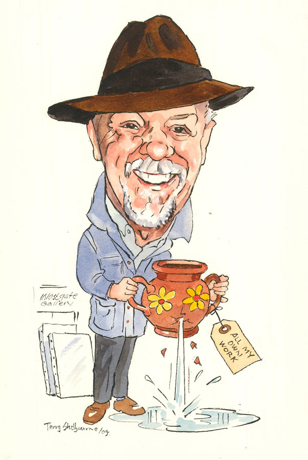 Terry Shelbourne (1930-2020) - 2004 Watercolour, Self Portrait Caricature