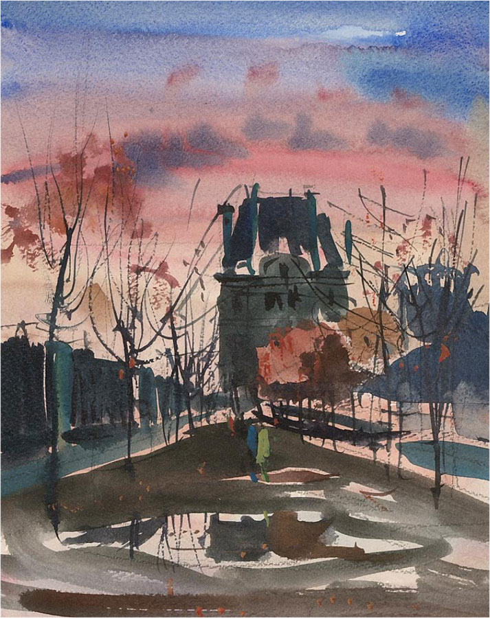 Ronald Olley (b.1923) - 20th Century Watercolour, City at Sunset