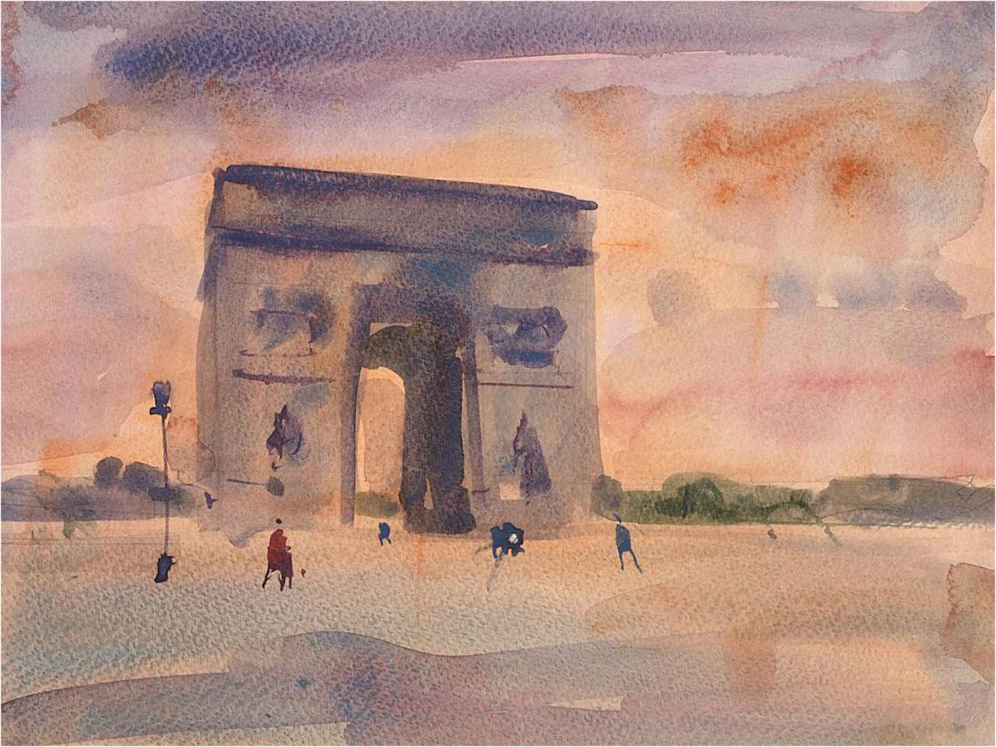 Ronald Olley (b.1923) - 20th Century Watercolour, Arc de Triomphe, Paris