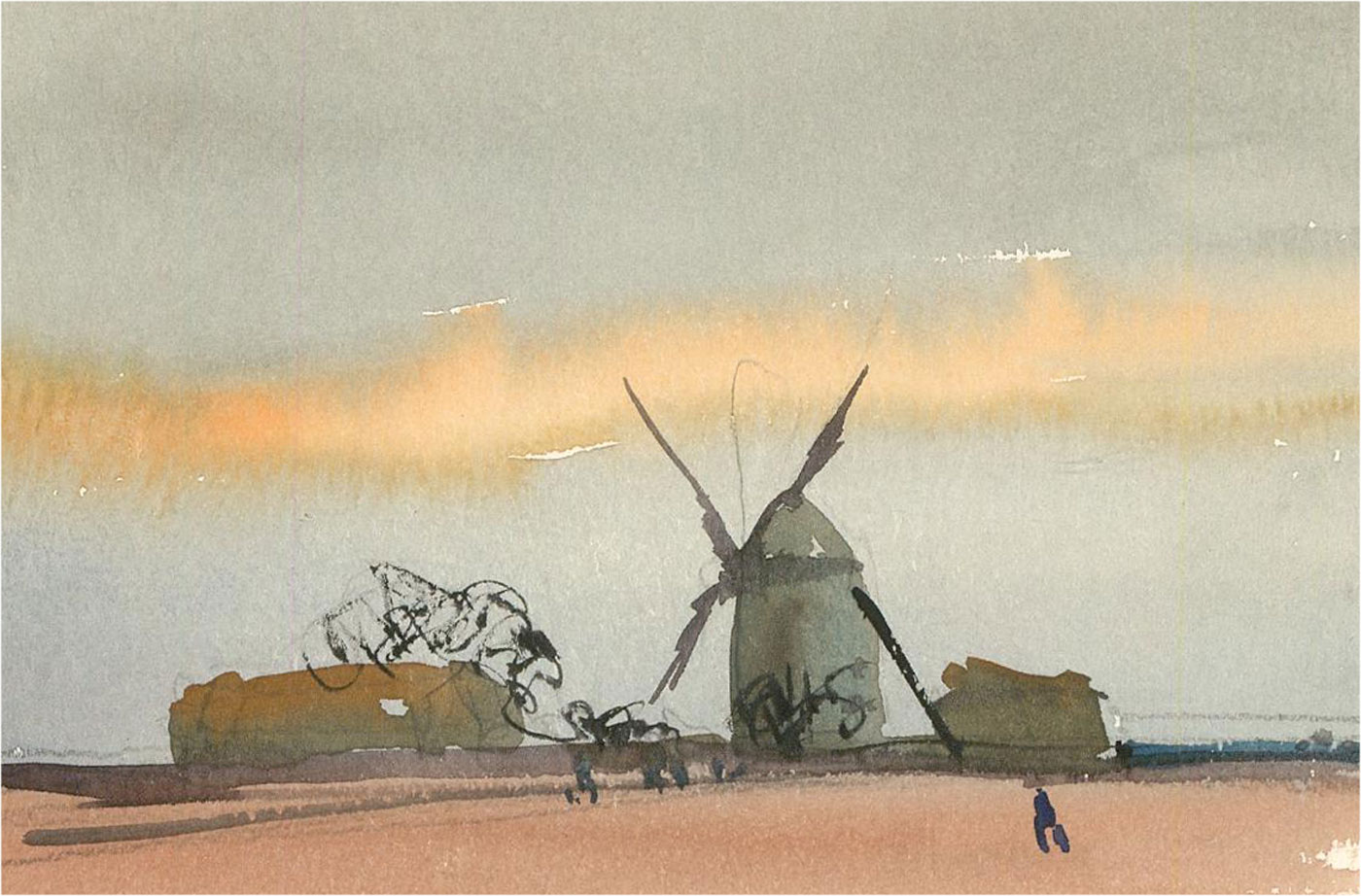 Ronald Olley (b.1923) Set of Three Watercolours, Windmill Landscapes