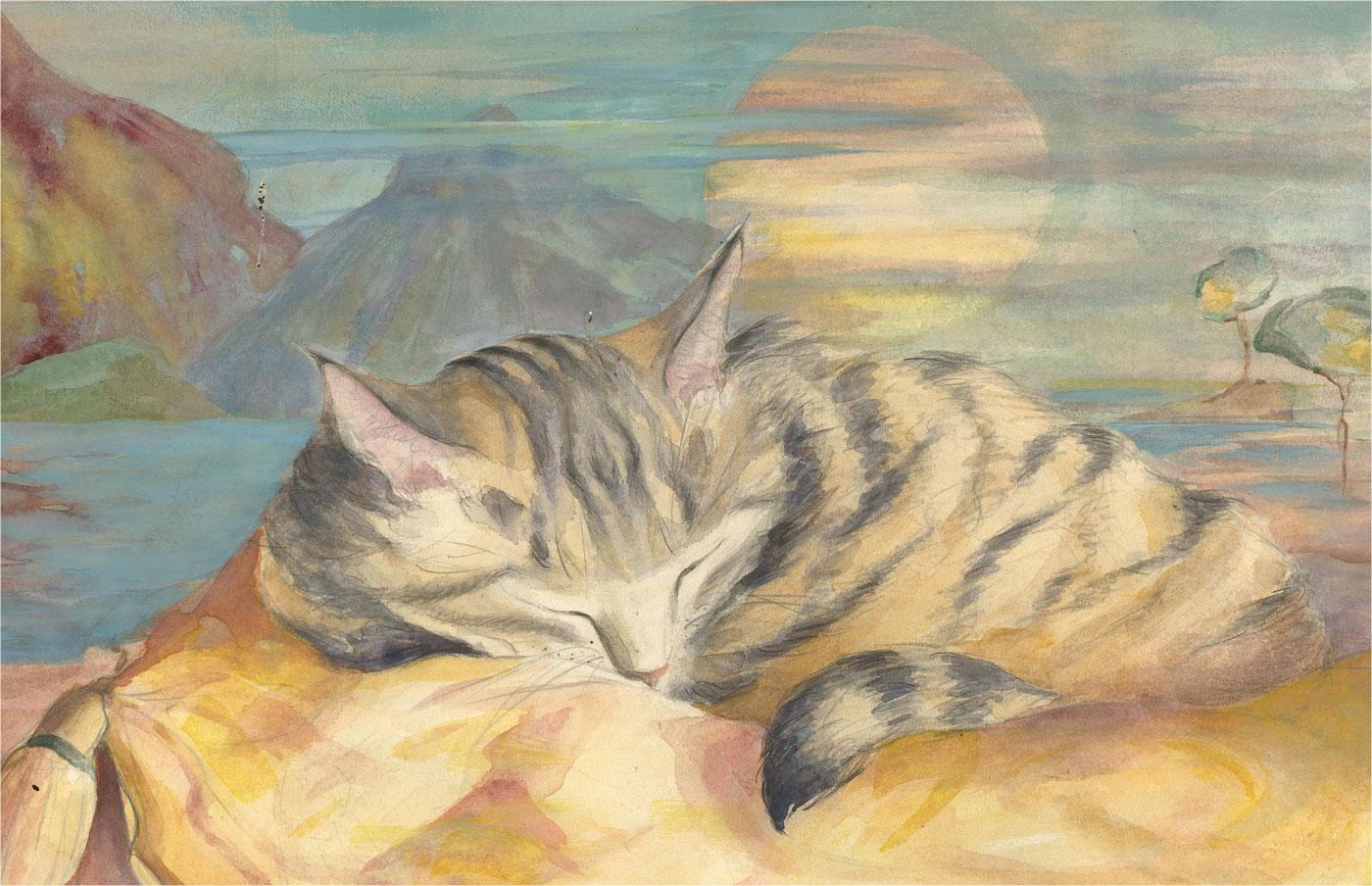Julie Collino - 20th Century Watercolour, Dreaming Cat