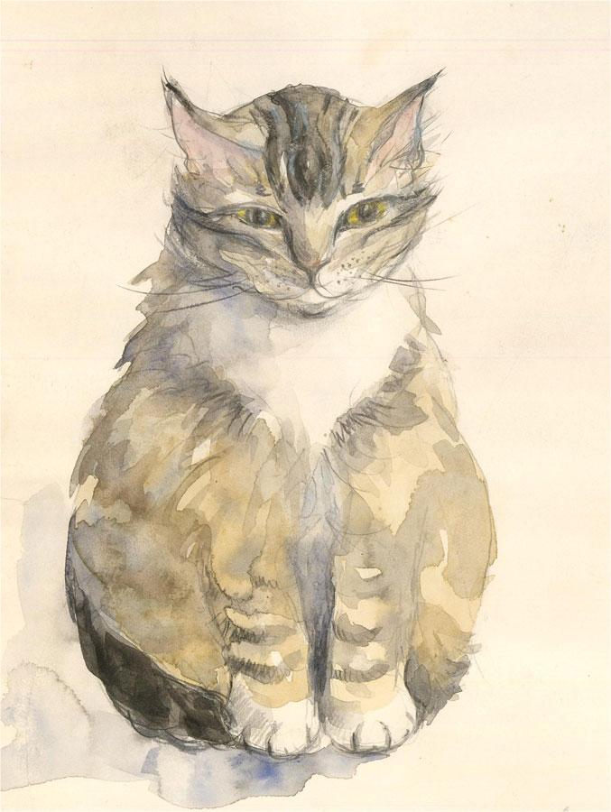 Julie Collino - 20th Century Watercolour, Bella the Cat
