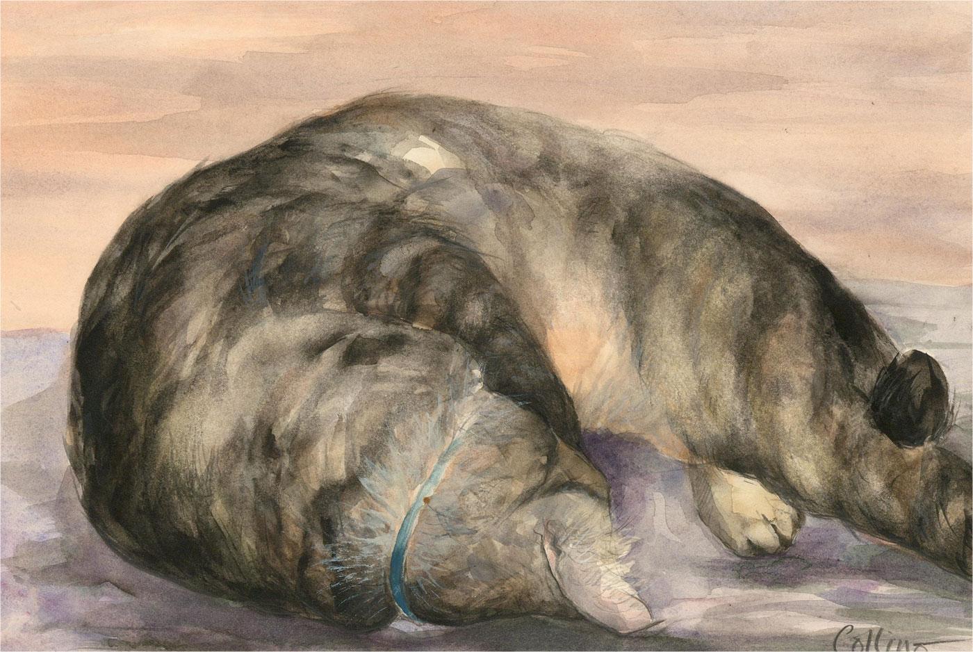 Julie Collino - 20th Century Watercolour, Sleeping Cat