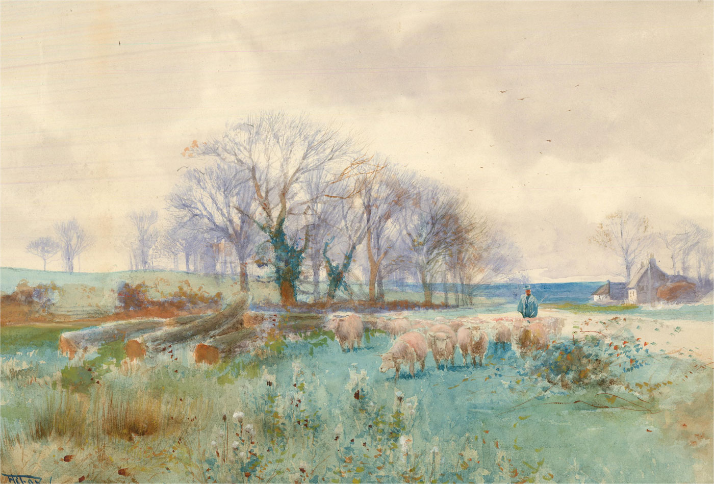 1916 Watercolour - Out To Pasture