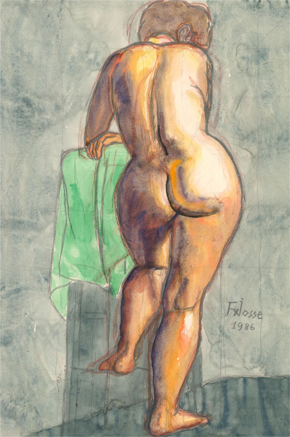 Francois Xavier Josse (1910-1991) - 1986 Watercolour, Female Nude From Behind